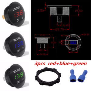 3pcs Led Panel Digital Display Car Motorbike Volt Meters Voltage Gauge Meter Kit