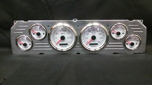 1964 1965 1966 Chevy Truck 6 Gauge Gps Cluster White