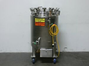 Dci 200 Liter Stainless Steel Jacketed Reactor W Bottom Agitator 45 Psi Fv