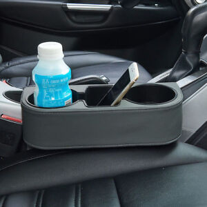Universal Leather Car Seat Dual Cup Drink Bottle Holder Pocket Storage Organizer