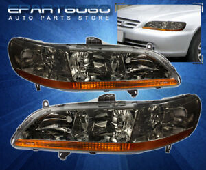 1998 2002 Honda Accord Cg Jdm Smoke Lens Amber Reflector Headlight Lamps Pair