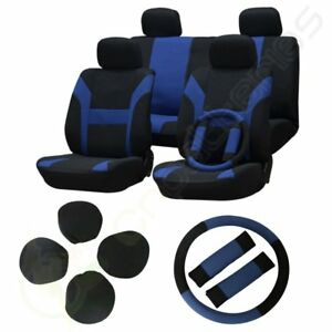 New Blue black Car Seat Cover W headrest steering Wheel belt Pads For Seat
