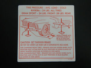 1965 Buick Riviera Gran Sport Gs Trunk Bumper Jack Instructions Decal 65 New