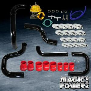 Black Intercooler Piping Gold Rs Bov Red Couplers Kit For 1992 1995 Civic