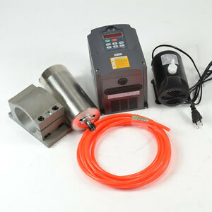 Cnc 110v 1 5kw Water cooled Spindle Motor inverter waterpump clamp pipe As A Set