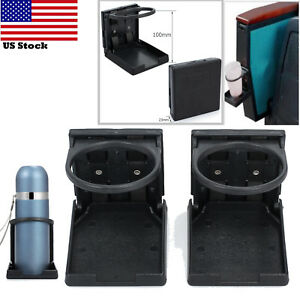 2x Car Folding Cup Holder Drink Holder Storage For Marine Black Universal 75mm