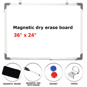 Office 36 x24 magnetic Whiteboard Large Dry W erase Calendar Board Marker Eraser