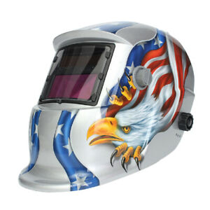 Auto Darkening Solar Welding Helmet Mask Uv Ir Filter Shade Silver Eagle F