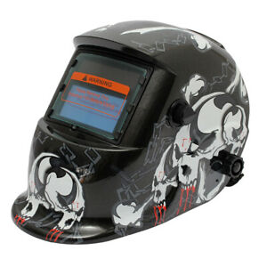 Auto Darkening Solar Welding Helmet Mask Uv Ir Filter Shade Black Skull F