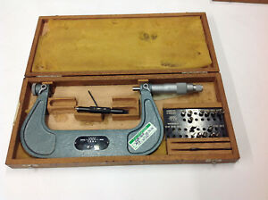 Tesa 4 5 Pitch Blade Micrometer With Tips Blades In Box W Etchings Used