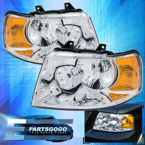 For 03 06 Ford Expedition Chrome Housing Amber Replacement Headlights Lamps Pair