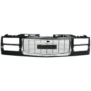 Grille Assembly For 94 98 Gmc C1500 94 2000 K2500 W Dual Headlight Holes