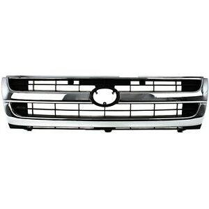 Grille For 97 2000 Toyota Tacoma Chrome Shell W Black Insert Plastic