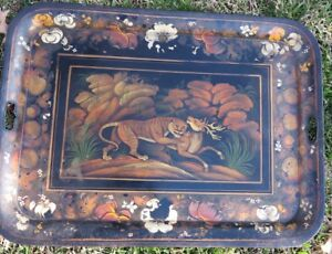 Antique Tole Tray Tiger Attacking Deer Antelope Large 30x22