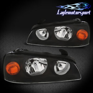 For 2004 2005 2006 Hyundai Elantra Black Factory Style Replacment Headlights Set