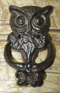 Cast Iron Antique Style Rustic Hoot Owl Door Knocker Brown Finish Barn