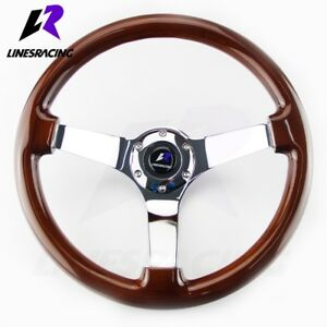 14 Classic Wood Grain Steering Wheel 6 Bolt 3 Dish Chrome Spoke horn For Buick