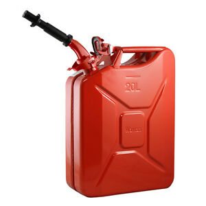 New Wavian Steel 5 Gallon Jerry Gas Can Red With Nozzle Nato Spec