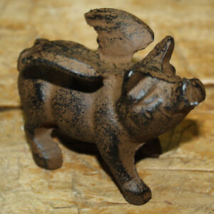 Cast Iron Flying Pig Statue Wings Paper Weight Garden Rustic Door Stop Figurine