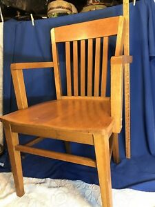 Vintage Wooden Oak Office School Banker Lawyer Chair Light Finish Blonde