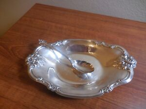 Vintage Silverplate Candy Dish Relish Dish Sterling Silver Spoon