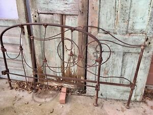 Antique Cast Wrought Iron Full Size Bed Frame Headboard Footboard