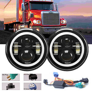 For Freightliner Coronado 7 Inch Round Led Headlight Drl Hi lo Driving Lights