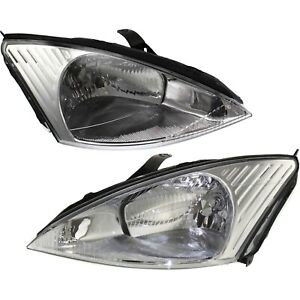Headlights Headlamps Left Right Pair Set New For 00 02 Ford Focus