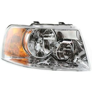 Headlight For 2003 2004 2005 2006 Ford Expedition Right Chrome Housing With Bulb