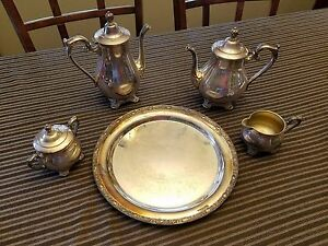 Antique Mint W Rogers Sons Victorian Rose Silverplate Coffee Tea Set