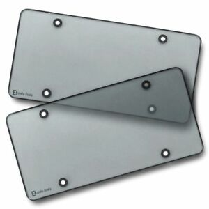 Zento Deals 2x Smoked Flat License Plate Cover Shield Tinted Plastic Tag Protect