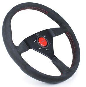 Momo Monte Carlo Black Alcantara Red Stitching 350mm Steering Wheel Mcl35al3b