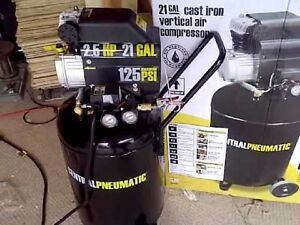 Cast Iron Vertical Air Compressor 2 5 Hp M Portable 21 Gallon 125 Psi