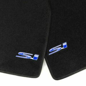 Black Front Rear Floor Mats Carpets W Blue Si Emblems For 96 00 Honda Civic