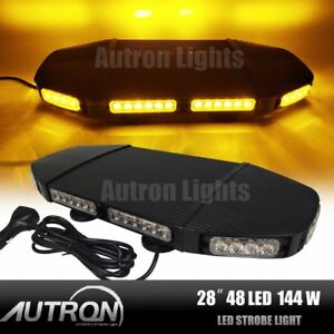 19 8 Led Amber Warning Emergency Beacon Truck Wrecker Roof Top Strobe Light Bar