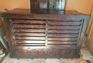 Fine Large 19th C Japanese Choba Dansu Merchant Tansu Chest W Sliding Doors