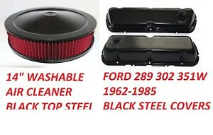 62 85 Ford Mustang Black Steel Valve Covers Baffle Washable Air Cleaner New Kit