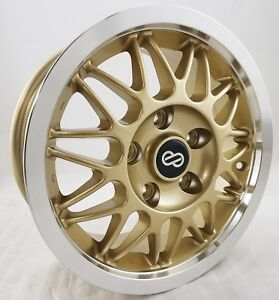 Set Of 4 Enkei Eum 11 Wheel Rims 14 Inch 5x114 3 Offset 38mm Gold Mesh New