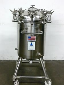 Precision 100 Liter 316l Stainless Steel Tank W Gast Pneumatic Mixer 60 Psi