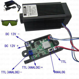 Analog ttl 5 5w 5500mw 450nm Blue Laser Module Focusable High Power Engrave Cut