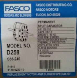 Fasco D258 Double Shaft 2 Speed Fan Coil Motor 1 5 1 10hp 1550 Rpm 208 230v New