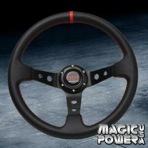 Black 350mm Deep Dish 6 bolt Steering Wheel W Red Stitching Fits Universal
