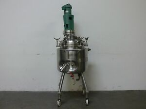 Precision 100 Liter 316l Stainless Steel Jacketed Reactor W Lightnin Mixer