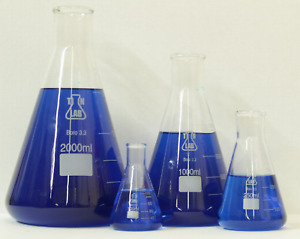 Tn Lab Glass Conical Flask Set 100 250 1000 2000 Ml pack Of 4 Sets ships Usa