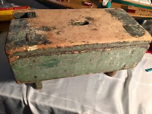 Crazy Primitive Milking Stool Old Green Paint Right Off The Farm