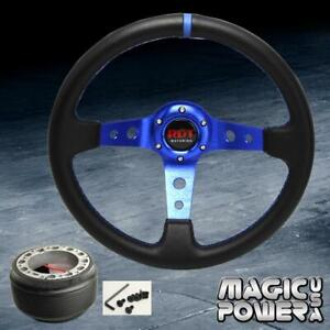 350mm Blue Stitching Deep Dish Steering Wheel Hub Adapter For Accord 1994 2014