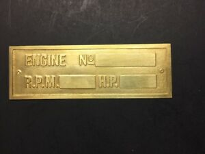 New Hercules Economy Etched Brass Tag Antique Gas Engine Hit Miss
