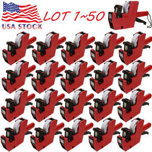 Mx 5500 8 Digits Price Tag Gun 200 White W Red Lines Labels 1 Ink Label Lot Se