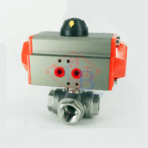 G1 Stainless Steel 304 Three Way T port Pneumatic Ball Valve Double Acting