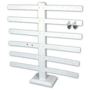 White Faux Leather 6 Tier Earring Jewelry Display Stand 15 3 8 Kit 2 Pcs